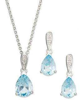 Victoria Townsend Sterling Silver Jewelry Set, Pear Cut Blue Topaz (7
