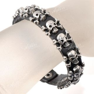Black Leather Skull Cool Punk Mens Jewelry Bracelet Belt Cuff