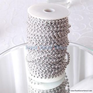 99ft Roll Dainty Metallic Silver Beads Weddings Decorations Parties