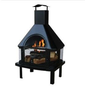 Hinged Door Outdoor Firehouse Fireplace Firepit w/ Capped Chimney Top