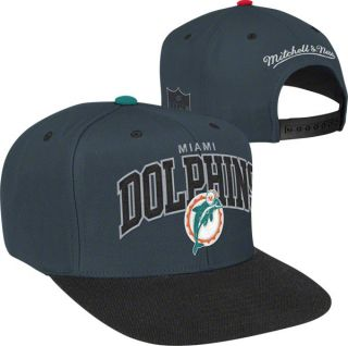 Miami Dolphins Mitchell Ness Arch Logo 2 Tone Snapback Hat
