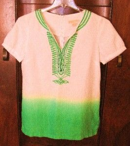 Michael Kors Green White Short Sleeve Linen Blouse 4