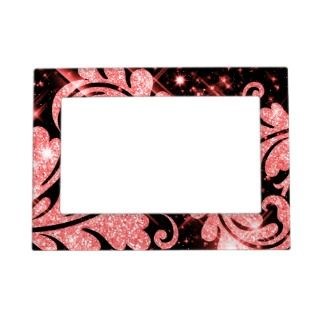 Elegant Faux Red Glitter Floral Swirl Photo Frame Magnet