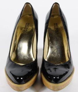 Michael Michael Black Patent Leather Wood heeled Pumps 8 5 M