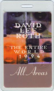 backstage pass for the DAVID LEE ROTH 1994 THE ENTIRE WORLD TOUR