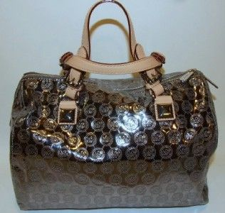 Michael Kors Grayson Nickel Mirror Monogrammed Large Satchel Bag Purse