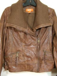 Michael Kors Missy Zip Leather Jacket Womens Med Brown Large New