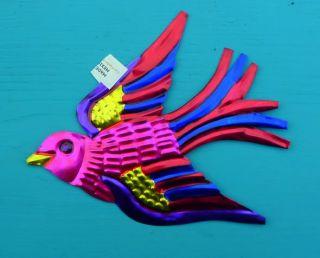 Mexican Hand Cut Painted Tin Folk Art Singing Birds Christmas Tree