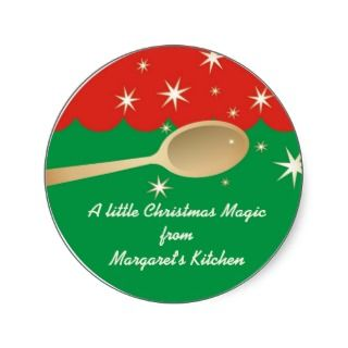 Magic wooden spoon baking Christmas gift tags Stickers
