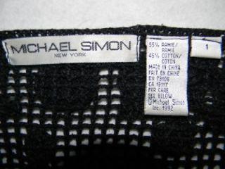 Vintage Michael Simon Black Crocheted Beaded Sweater Jacket Sz M / 1