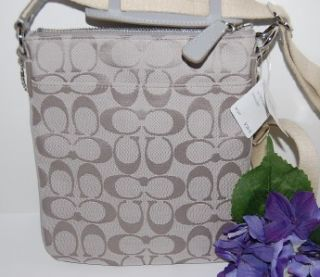 New Coach Sutton Gray Sig Stripe Crossbody Swingpack Bag 47162