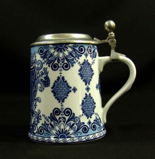Old German Merkle Porcelain Beer Stein Tankard Mug Lid