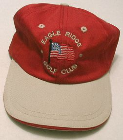 Eagle Ridge Club USA Flag Logo Golf Hat Firebrick Khaki Made in Canada