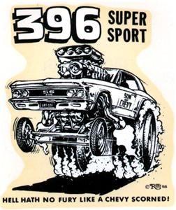 Ed Big Daddy Roth 396 Super Sport Chevy Original Vintage Decal