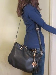 Michael Kors Bennet Black Leather Medium Tote $348