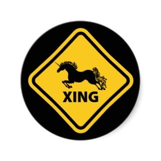 Unicorn Crossing Sign Stickers