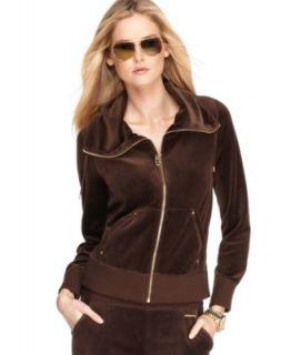 Michael Kors New Brown Velour Long Sleeve Full Zip Casual Top Jacket
