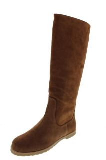 Michael Kors Kenton Brown Suede Flat Mid Calf Casual Boots Shoes 6
