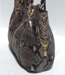 428 Michael Kors Moxley Medium Python Embossed Leather Shoulder Tote