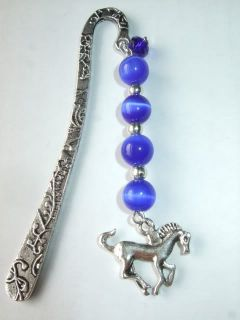 Handmade Blue Glass Beaded Galloping Horse Metal Bookmark New