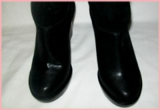 Michael Kors Calista Black Wedge Knee Boots Silver Sheen Sz 6 9
