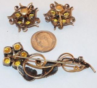 Vtg 12K Rose Gold Filled I Michelson Brooch Earrings