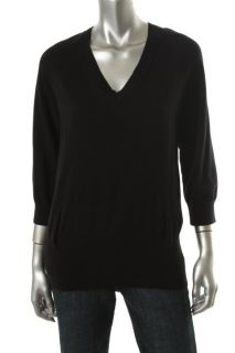 Michael Kors Black Long Sleeve V Neck Pullover Sweater L BHFO