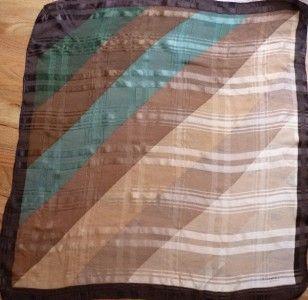 Michel Paris Green Brown Beige Silk Scarf 30 Sq
