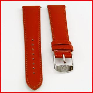 Michele Bright Orange Red Patent Leather Silver Buckle Watch Strap