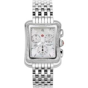 New Auhenic Michele Deco Moderne Diamond Bezel Ladies Wach Model