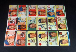 1955 Topps Baseball Starter Set 18 Cards Avg VG EX BV $342