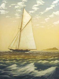 John McNulty Fresh Breeze Signed Fine Art Aquatint Etching Boat