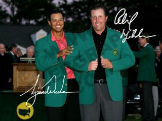 Phil Mickelson and Tiger Woods Signed Mounted Autograph Print Masters