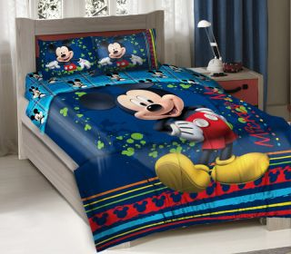 3pcs Licensed Disney Mickey Mouse Fun Bedding Comforter Set + Fitted