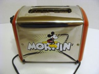 Disney Mickey Mouse Red Chrome Toaster for Parts or Repair not Working