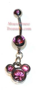 Disney Pink Stone Mickey Mouse Head Dangle Belly Ring