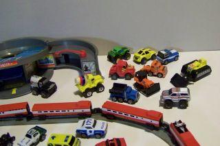 Minis Micro Machines Case Cars Trucks Boats Racers 5pc Train Track Lot