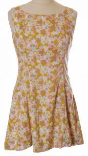 1960s Cotton Floral Mini Micro Mod Scooter Dress Vtg 60s UK10