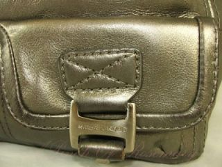 Michael Kors Ranger Metallic Leather Pocket Satchel Bag Purse Silver