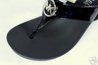 Michael Kors Warren Black Patent Logo Sandals Thongs Wedge Womens