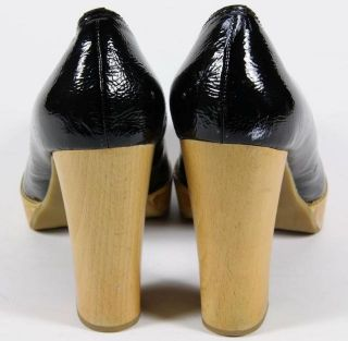 Michael Michael Black Patent Leather Wood heeled Pumps 8 5 M
