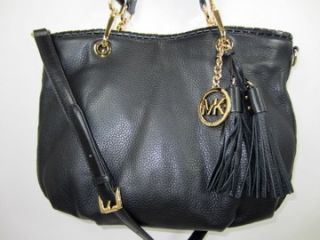 Michael Kors Black Bennet Bennett Med Leather Crossbody Tote Bag Purse
