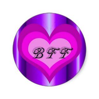 hot pink heart Best friends forever Sticker