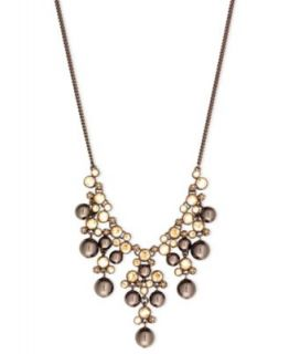 Givenchy Necklace, Brown Gold Tone Glass Pearl Frontal Drama Necklace