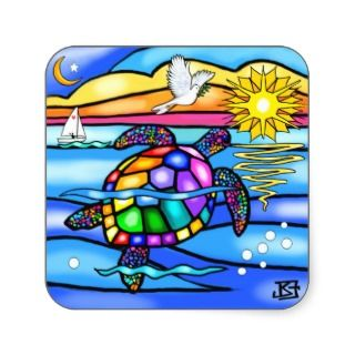 Sea Turtle (#8   with dove) Stickers