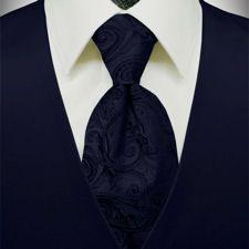 Premiere Satin Vest Tie 36 Colors Midnight Blue