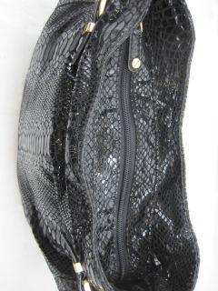 Michael Kors Kingston Patent Python Embossed Large Shoulder Bag Black