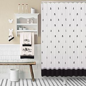 New Vintage Black White Mickey Mouse Silhouettes Shower Curtain