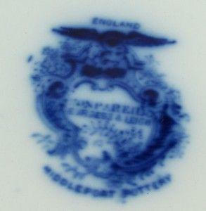 Saffordshire Middlepor Burgess Leigh Flow Blue Casles Moif urkey
