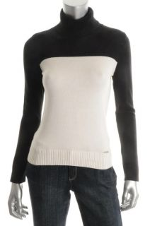 Michael Kors New Black White Ribbed Trim Turtleneck Sweater Petites P